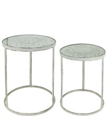NF Living Nora Set of 2 Metal Side Tables with Glass Top