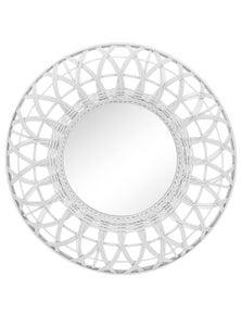 NF Living White Rattan Mirror