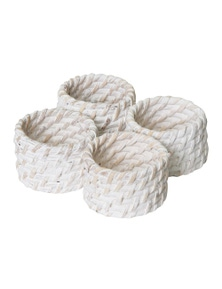 J.Elliot Pacifica Rattan Napackin Ring Set of 4