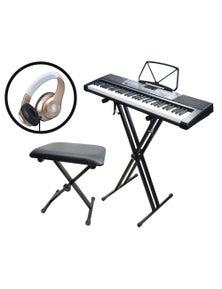 61 Key Full Size Electronic Keyboard Pack Stand Stool Headphones MK2108 KS2 KB35 K3407