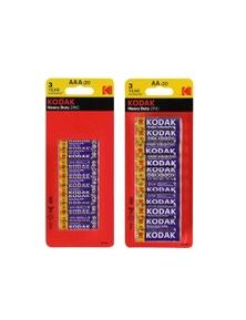 Kodak Multi Pack 20xAA 20xAAA Heavy Duty Zinc 1.5V Low Drain Batteries