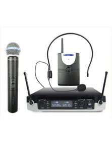 2-in-1 UHF Wireless Microphone System Handheld Headset Lapel Bodypack GLXD05
