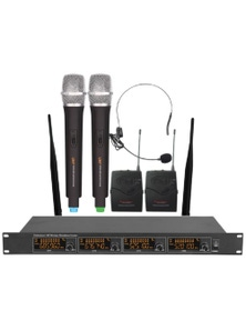 4 Channel UHF Wireless Microphone System Rack Mountable LCD Display MIC98