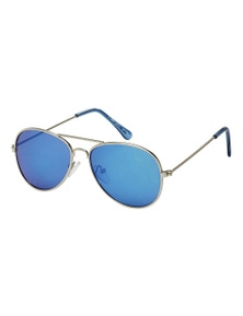 Black Ice Kids Matt Silver Frame Blue Mirror Lens Sunglasses