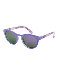 Black Ice Kids Purple Stripes Frame Purple Mirror Lens Sunglasses