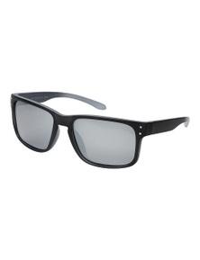 Black Ice Mens Matt Black with Grey inside Frame Silver Mirror Lens Sunglasses