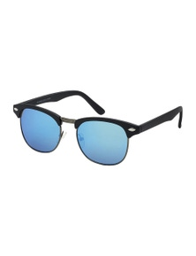 Black Ice Unisex Matt Black Frame Blue Mirror Lens Sunglasses