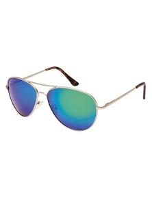 Black Ice Unisex Matt Gold Frame Green Mirror Lens Sunglasses