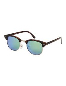 Black Ice Unisex Matt Tort Frame Green Mirror Lens Sunglasses