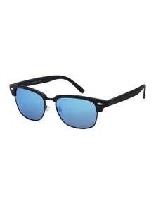 Black Ice Unisex Rubber Black Frame Ice Blue Mirror Lens Sunglasses
