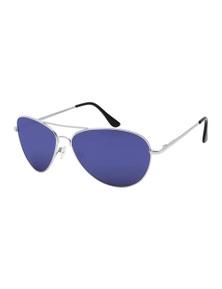 Black Ice Unisex Silver Frame Blue Mirror Lens Sunglasses