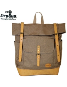 FIB Water Resistant Backpack Canvas Dry Bag w Roll Top Closure - Sand