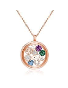 Mestige Rose Gold Water Lily Floating Charm Necklace with Swarovski Crystals
