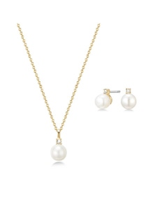 Mestige Golden Katalina Freshwater Pearl Necklace and Earring Set with Swarovski Crystals
