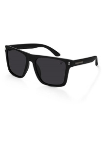 Winstonne Barrett in Matte Black and Grey Polarised Sunglasses
