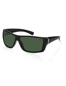 Winstonne Juan in Matte Black and Green Polarised Sunglasses
