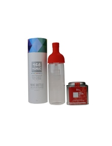 Glass Wine Bottle 750ml Red With Loose Leaf Caddy Tin Of Thirst Quencher Tea