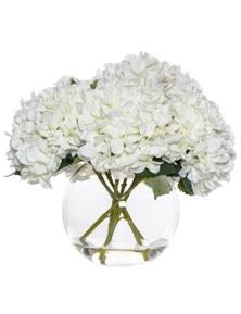 Albi Rouge Artificial Hydrangea-Phoebe Sphere Vase - 40Cm White