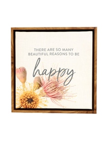 Splosh Flourish Happy Framed Canvas