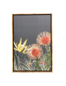 Splosh Flourish Dark Native Framed Canvas