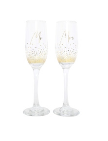 Splosh Wedding Mr & Mrs Champagne Flute Set
