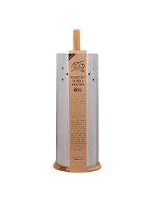 White Magic Eco Basics Stainless Steel Toilet Roll Holder & Brush Set