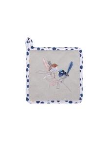 The Linen Press - Wild Blue Wren - Pastel - Pot Holder