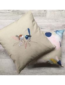 The Linen Press - Wild Blue Wren - Pastel - Cushion Cover