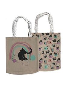 The Linen Press - Cat Love - Rainbow Cat - Shopper Bag