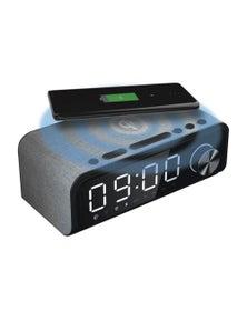 Laser 4-In-1 Fabric Qi Wireless Charging Alarm Clock W/ Bluetooth Speaker - Grey