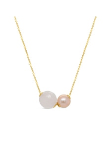 By Fairfax & Roberts - Real Pearl & Rose Quartz Dble Slider Necklace
