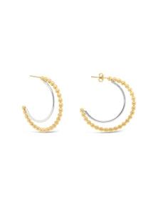 By Fairfax & Roberts - Beaded Two-Tone Half Hoop Earrings
