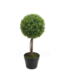 Potted Artificial Boxwood Topiary Tree 58Cm