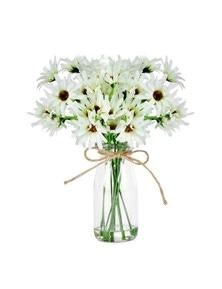 Artificial 25Cm White Chrysanthemum In Glass Vase