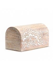 Artisan Carved Mandala 20cm Round-Top Box