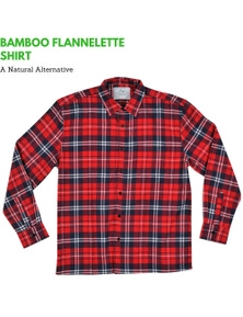 Men's Bamboo Flannelette Shirt Authentic Check Flannel Long Sleeve