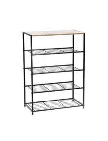 Metal Frame 5 Tier Shelf w/Wood Top