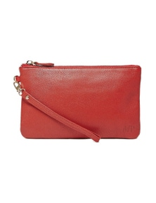 Mighty Purse Leather Wristlet - Ruby Red