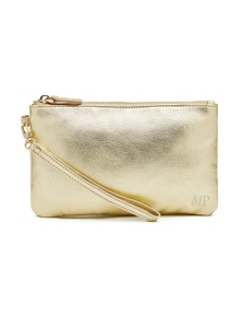Mighty Purse Leather Wristlet - Gold Shimmer