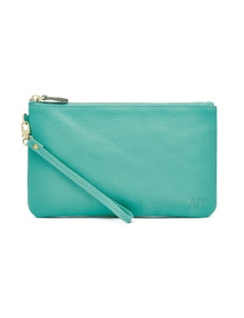 Mighty Purse Leather Wristlet - Turquoise