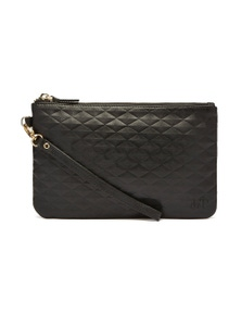 Mighty Purse Leather Wristlet - Diamond Black
