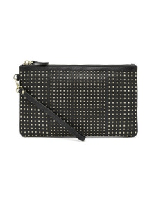 Mighty Purse Leather Wristlet - Black With Small Gold Studs
