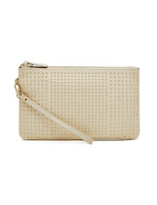 Mighty Purse Leather Wristlet - Cream With Small Gold Studs