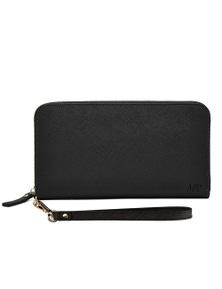 Mighty Purse Leather Zipper Wallet - Black