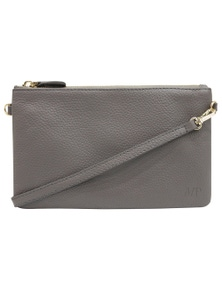 Mighty Purse Cross Body Leather Classic - Grey