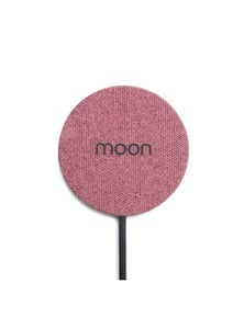 Moon Wireless Pad Wireless Mobile Phone Charger - Pink Fabric