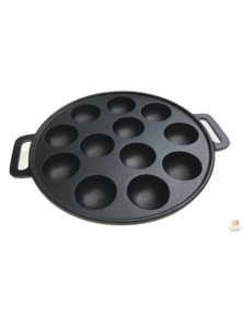 12 Dimple Cast Iron Poffertjes Mini Dutch Pancake Cake Pan with Handles Maker