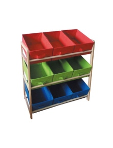 9 Drawer Timber Storage Rack 3-Tier Box Wooden Kids Toy Organiser Holder Shelf