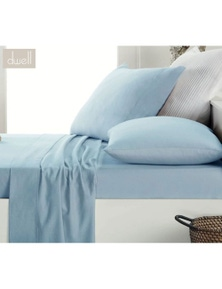 DWELL FLANNELETTE SHEET SET PALE BLUE  - QUEEN