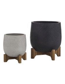 Amalfi Viceroy Planter Pots Set - Black/Grey